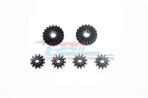 Harden Steel #45 Front, Center, Rear Diff Bevel Gear & Pinion Gear for Arrma Kraton / Outcast / Typhon / Talion / Senton - 6Pc Set Black - Gear Diff Bevel Gears