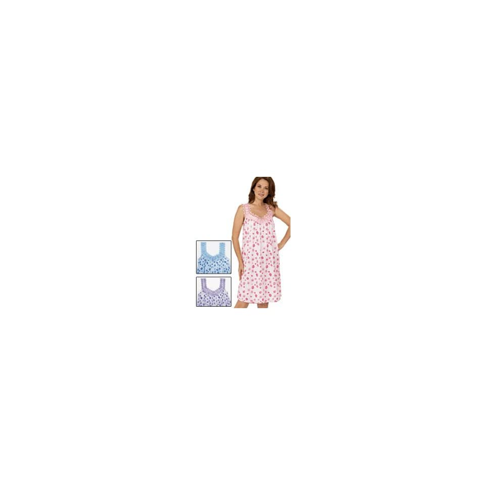 Womens Cotton Full Length Sleeveless Nightgown   Sleepwear with Wide Shoulder Straps