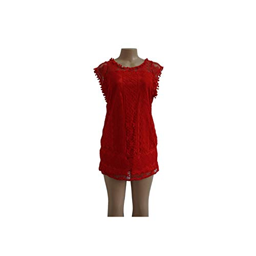 - Dress Casual Dress Tassel Black White Mini Lace Dress Sexy Vestidos,Red,XL