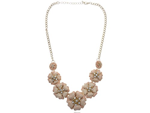 Alilang Womens Golden Tone Peach Nude Contemporary Floral Flower Chunky Statement - Nude Vintage Teen