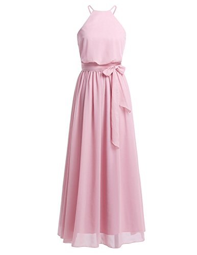 Chiffon Empire Long Bridesmaid Maxi Dress Floor Length Sleeveless Lace Long Dress Dusty Rose XS ()