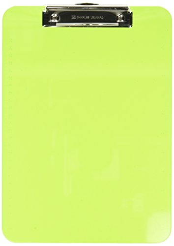 Charles Leonard Transparent Plastic Clipboard with Low Profile Clip and Pull Out Hook, Letter Size, Neon Green, 1 Each (89725)