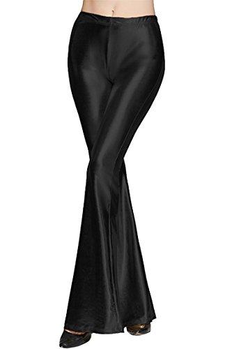 - Tamskyt Womens Wide Leg Shiny Liquid Metallic Bell Botton Flared Palazzo Pants (One Size, Black)