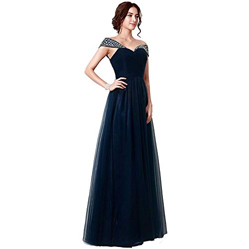 Women's Rhinestone Sleeves Prom Dress Long Evening Gown (Size : 10)