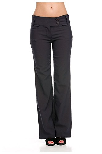 G2 Chic Women's Solid Millennium Sleek Office Dress Pants  Small  Dark Grey-A3 (Women Dress Pants For Work compare prices)
