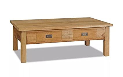 Coffee Table Solid Teak Rustic End Table Baskets Sturdy Decorative Hardwood  Tabletop Drawers 39.4u0026quot;x23