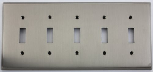 - Satin Nickel 5 Gang Toggle Switch Wall Plate