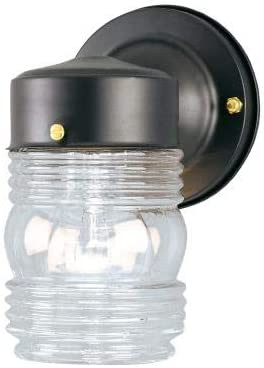 Ciata 1 Light Wall Lantern Sconce Fixture Jelly Jar Outdoor Down Light with Clear Glass Black