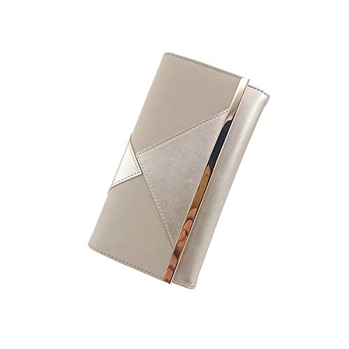 Silver Pu Patchwork Fashion Design Women Wallet Female Purse With Long Metal Bar For Ladies Luxury Wallet,Silver