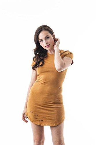 - Khanomak Women's Short Sleeve Crewneck Distressed Jersey Cotton Mini Bodycon Dress (Medium, Mustard)