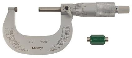"1-2/"" Outside Micrometer Solid Metal Frame 0.0001 Graduation Ratchet Stop"