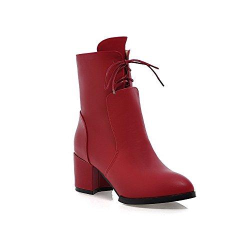 AllhqFashion Damen Niedrig-Spitze Reißverschluss Lackleder Mittler Absatz Rund Zehe Stiefel Rot
