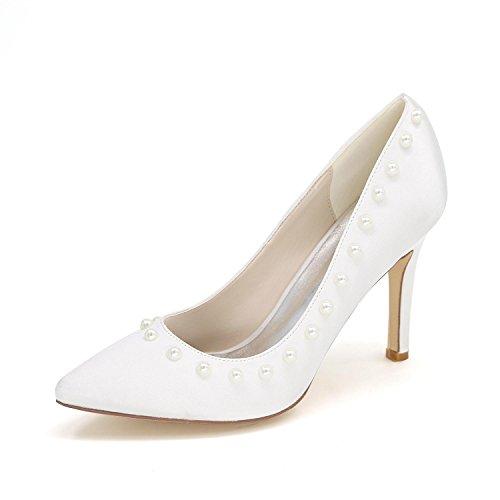 L@YC Frauen High Heels 0608-01Z Hochzeit Schuhe Custom Pointed Niet Schuhe White