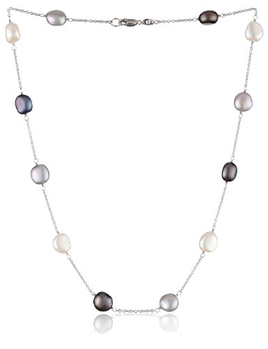Tin Cultured Pearl Necklace Cup (Honora Tuxedo Freshwater Cultured Pearl Tin Cup Necklace, 18
