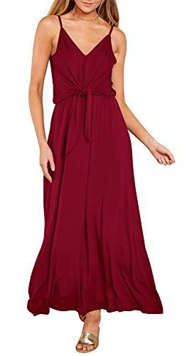 (ETCYY Women's Loose Casual Sleeveless Deep V Neck Tie Knot Front Summer Beach Maxi Long Dress)