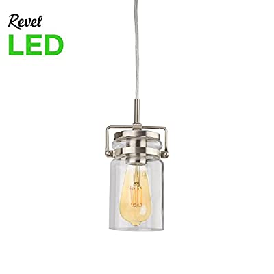 Wyer Industrial Mini Pendant with Clear Jar Glass Shade + Vintage Smoked Glass LED Bulb