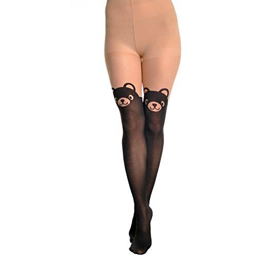 Brown Animal Pattern (Angelina Womens Animal Pattern Faux Thigh High Pantyhose #9419_2)