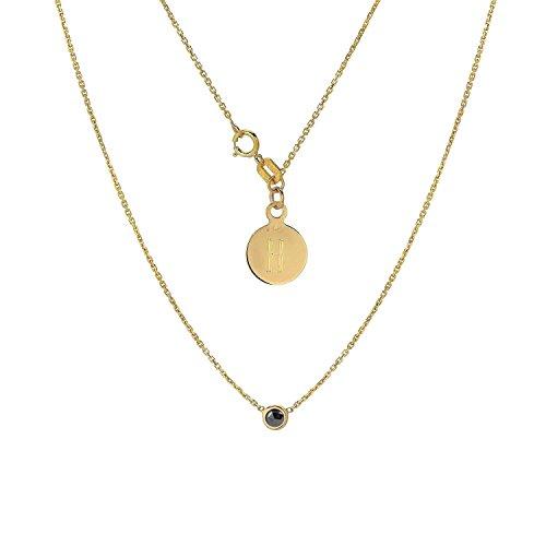 (TousiAttar Diamond Solitaire Necklace-Bezel set Necklaces - Solid 14K or 18Karat Gold Pendant - 0.15 ct Black Natural Stone-Elegant Jewelry Gift - Minimalist Pendants and Choker-Free Engraving)