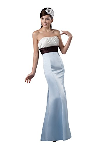 VogueZone009 Womens Strapless Satin Chiffon Pongee Formal Dress, ColorCards, 16 by VogueZone009