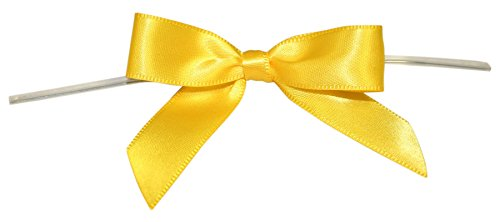 Reliant Ribbon Satin Twist Tie Bows - Small Ribbon, 5/8 Inch X 100 Pieces, Yellow -