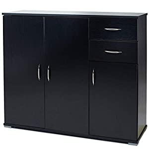 Laura James Sideboard – Home Office Cupboard Cabinet Unit Chest – with 2 drawers and shelf shelves (Black)