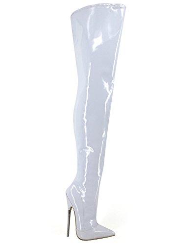 Wonderheel metal heel pointed toe patent fetisch over-knee stiefel thigh high boots