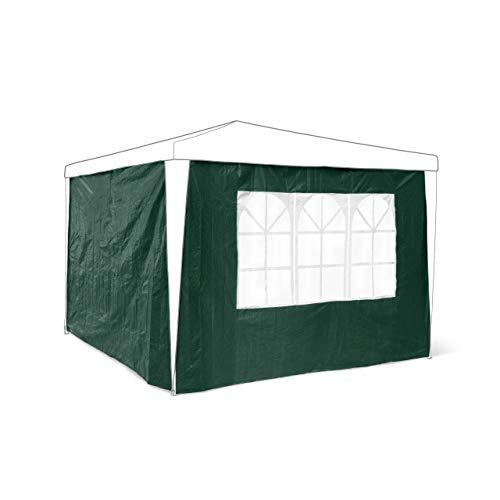 relaxdays 2 paredes laterales para pabellones de 3 x 3 m, 190 x 290 cm, 1 ventana de PVC, 100 g PE, para acampar festivales jardín, color verde, 0.5x290x190 cm