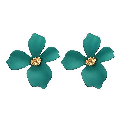 Ranoff Women Earrings Fresh Temperament 5-Color Petal Flower Earrings Alloy Earrings for Weddings Parties Gift (Green) ()