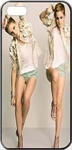 Emma Watson Actress Emma Watson Women Females Brunette Apple iPhone 5/5s SLIM Case Carcasa [SF Matte Black (negro)] SUPER SLIM + SF COATED + PERFECT FIT Caso duro Premium Funda Cáscara Caso Cubrir