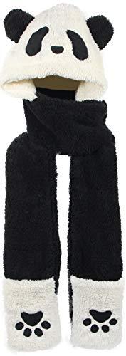 Winter Warm Plush Hooded Scarf Animal Cute Panda Hats 3 in 1 Paw Gloves Pocket Soft Cap (Black)