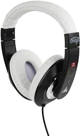 Galaga Kid Safe Over-Ear Headphones HP1-21717 W Volume Limiter by Sakar, Adjustable Headband, Comfortable Ear Cups, Great Audio, Kids Safe Technology, White Black