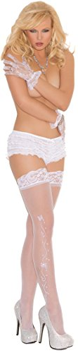 - Hot Spot Women's Wedding Bells Lace Top Sheer Thigh High Bridal Stockings