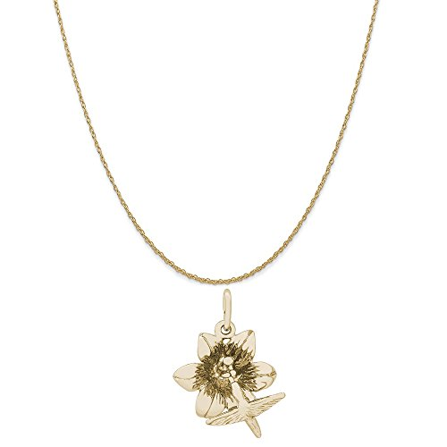 Rembrandt Charms 10K Yellow Gold Hibiscus with Hummingbird Charm on a Rope Chain Necklace, 18