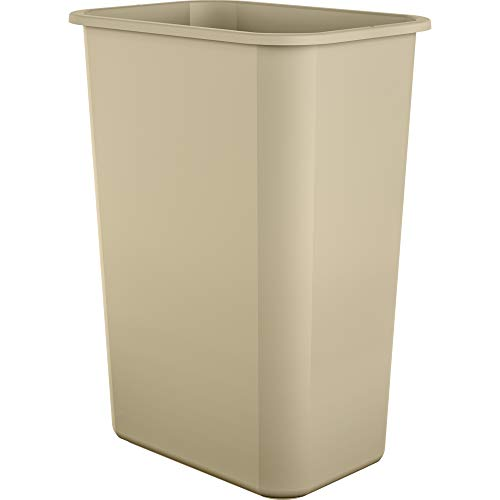 AmazonBasics 10 Gallon Plastic Commercial Trash Waste Basket, Beige, 4-Pack