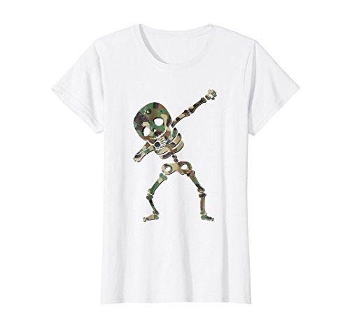 Womens Camouflage Halloween Dabbing Skeleton Shirt Medium
