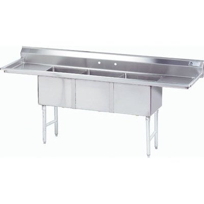 """100"""" x 36"""" Triple Fabricated Bowl Scullery Sink -  Advance Tabco, FC-3-2030-20RL"""