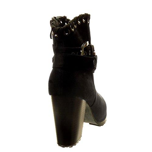 Angkorly - Scarpe da Moda Stivaletti - Scarponcini rangers santiags - cowboy donna perforato fibbia Tacco a blocco tacco alto 8.5 CM - soletta Foderato di Pelliccia - Nero