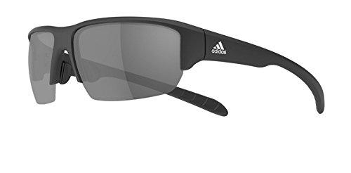 adidas Kumacross Halfrim A421 6063 Rectangular Sunglasses, Black Matte, 64 ()