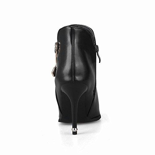 Charm Fot Kvinna Elegant Blixtlås Spetsig Tå Hög Klack Boots Svart
