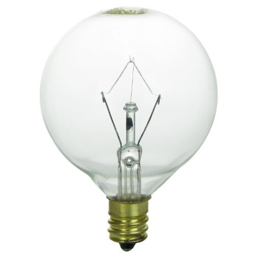 Sunlite 25G16.5/CL/CD2 Incandescent 25-Watt, Candelabra Based, G16.5 Globe Bulb, Clear, 2 Pack by Sunlite