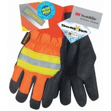 Memphis Glove 34411L Luminator Grain Pigskin Waterproof Thermosock Lined Gloves with Wing Thumb, Black/Orange, Large, 1-Pair by MCR Safety (Pigskin Waterproof Gloves Palm)