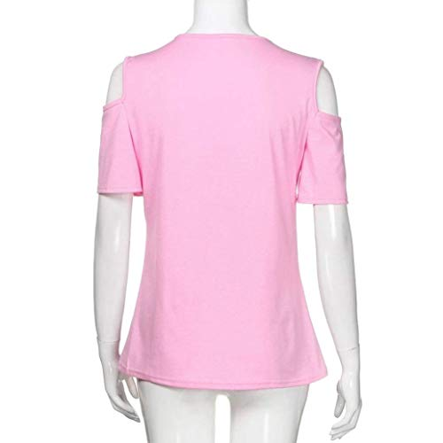 pissure Top Mode Style Rond Shirts Rose Femme Slim Courtes Manches Uni Col Dentelle Dentelle Elgante Spcial Branch Manche Creux paules Chemisier Nues Et Chemisiers Fit qrqwxfCO