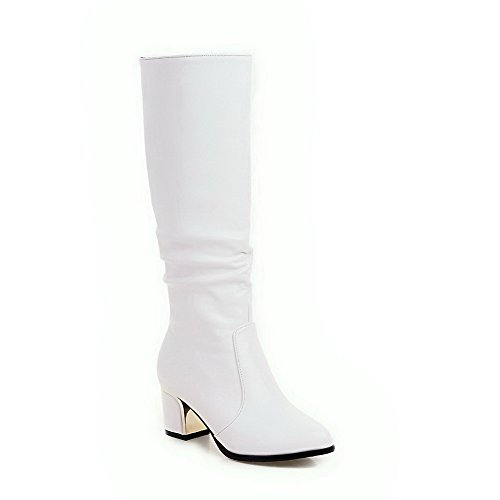 VogueZone009 Womens Round Closed Toe Kitten-Heels Pu Solid Pull-On Boots, White-Block Heels, 34