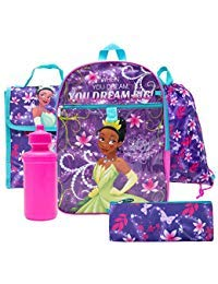 (Disney Princess Backpack Combo Set - Disney Princess 5 Piece Backpack School Set (Purple))