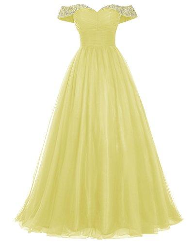 Bridesmay Longue Robe De Bal En Tulle Perles De Robe Formelle Robe De Soirée Épaule Jaune