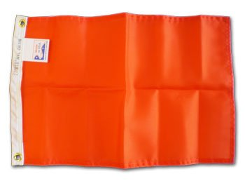 (Orange Attention Flag - Solid Color Nylon Flag, 12 inches by 18 inches )