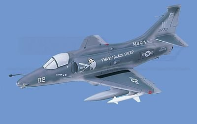 "A-4M   Skyhawk- Marines ""Black Sheep"", Loaded Aircraft Model Mahogany Display Model / Toy. Scale: 1/32"