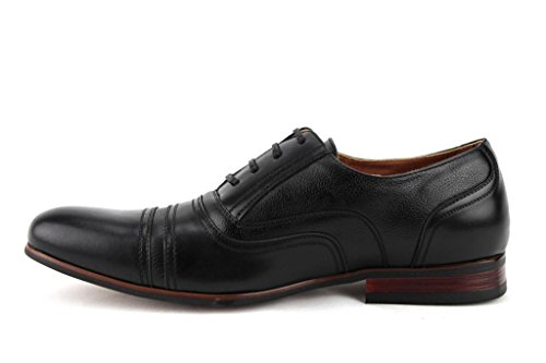 Ferro Aldo Hombres 19391l Round Cap Toe Balmoral Lace Up Oxfords Dress Zapatos Negro