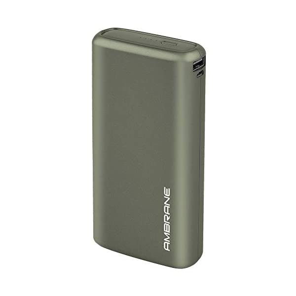 Ambrane 20000mAh Li-Polymer Powerbank with Fast Charging & Compact Size (Neos, Midnight Green) 2021 July High Performance- With 20000 mAh battery capacity and dual ports for input and output, it's a powerbank with no hassle and only great performance and experience Dual Outputs - The power bank has dual output available to charge your devices. Any device that supports USB output is rechargeable from the powerbank. When two devices are being charged simultaneously, it intelligently adjusts power output to match the device's requirement and gives efficient charging speed. Inputs ports - The dual input ports allow you to recharge the power bank with either micro USB or Type-C cable, hence you don't have to carry extra cables.