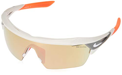 Nike EV1027-063 Hyper Force Elite M Frame Sunglasses, Matte Pure Platinum/Hyper Crimson
